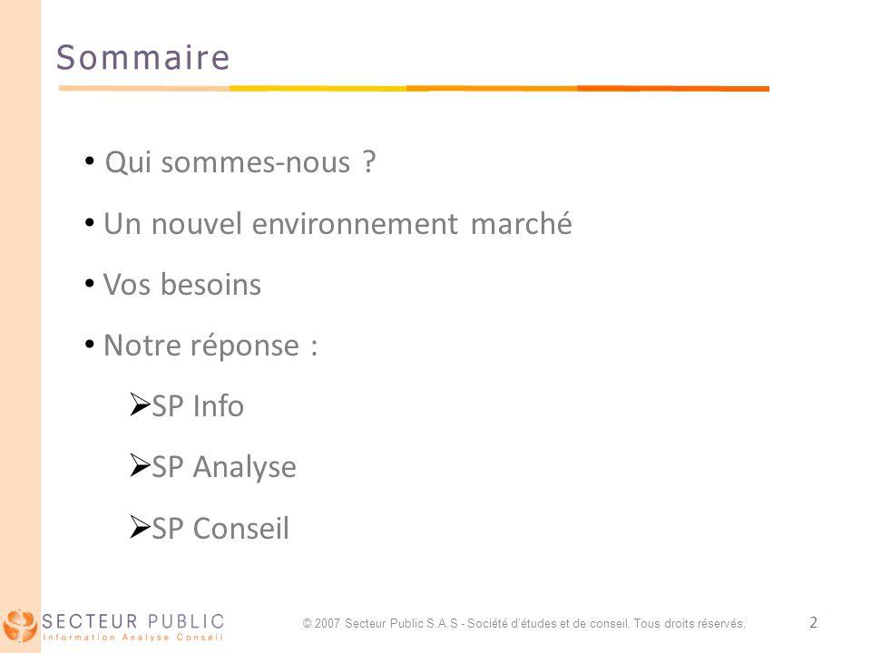 2 Sommaire © 2007 Secteur Public S.A.S - Société détudes et de conseil.