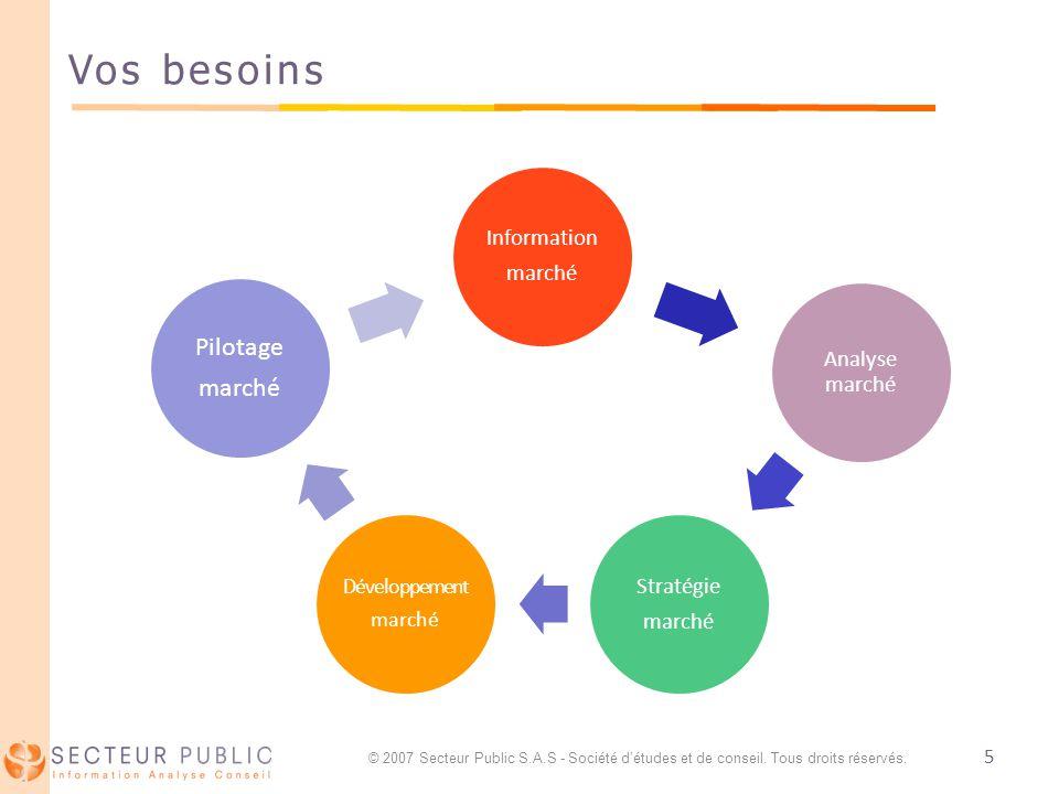 5 Vos besoins Information marché Analyse marché Stratégie marché Développement marché Pilotage marché © 2007 Secteur Public S.A.S - Société détudes et de conseil.