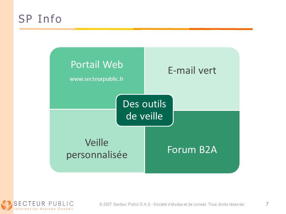 7 SP Info Portail Web www.secteurpublic.fr E-mail vert Veille personnalisée Forum B2A Des outils de veille © 2007 Secteur Public S.A.S - Société détud
