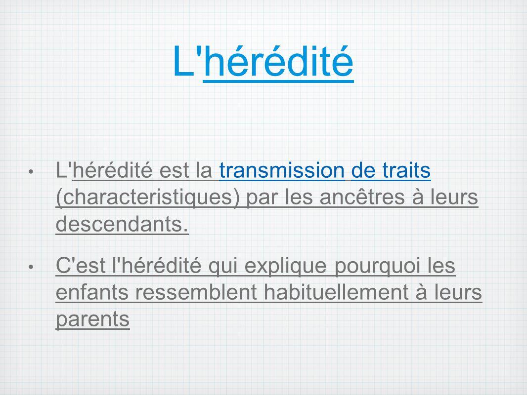 L'hérédité L'hérédité est la transmission de traits (characteristiques) par les ancêtres à leurs descendants. C'est l'hérédité qui explique pourquoi l