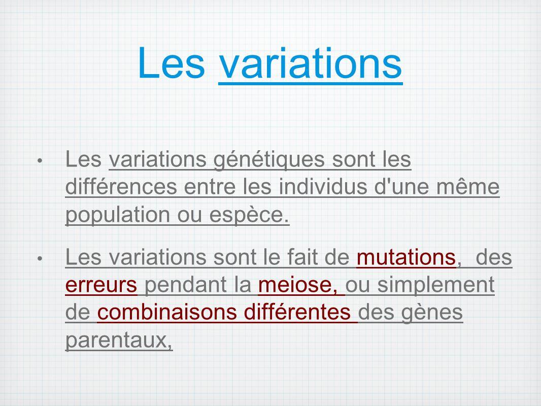 Les variations Les variations génétiques sont les différences entre les individus d'une même population ou espèce. Les variations sont le fait de muta