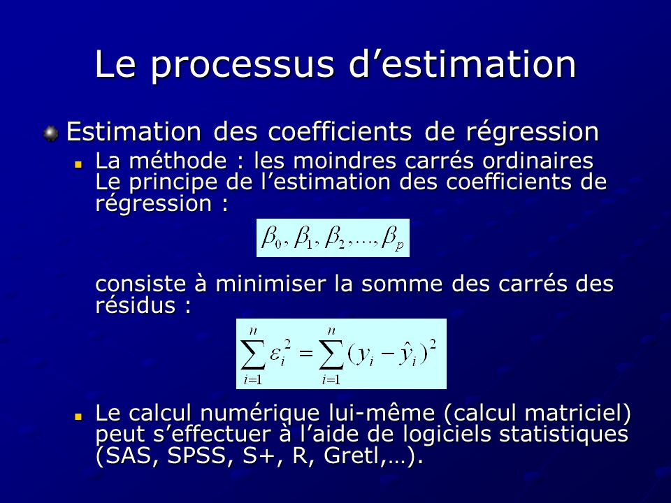 Le processus destimation Estimation des coefficients de régression La méthode : les moindres carrés ordinaires Le principe de lestimation des coeffici