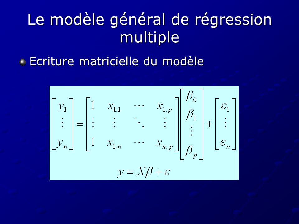 Le modèle général de régression multiple Les hypothèses du modèle Les hypothèses de nature probabiliste Les hypothèses de nature probabiliste Les variables X i sont aléatoires E( i )= 0 pour tout i V( i )= 2 pour tout 1 i p (homoscédasticité des erreurs) Cov( i, i )=0 pour tout i j Le vecteur aléatoire suit une loi normale à n dimensions N(0, 2 I n ) Les hypothèses structurelles Les hypothèses structurelles Det( X T X ) 0 (absence de colinéarité entre les variables explicatives).