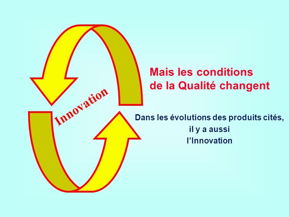 Innovation Mais les conditions de la Qualité changent Dans les évolutions des produits cités, il y a aussi lInnovation