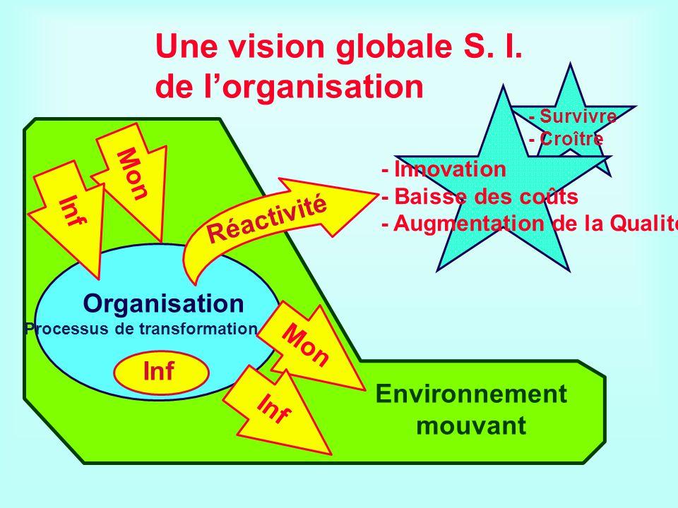 - Survivre - Croître Une vision globale S. I. de lorganisation Environnement mouvant - Innovation - Baisse des coûts - Augmentation de la Qualité Inf