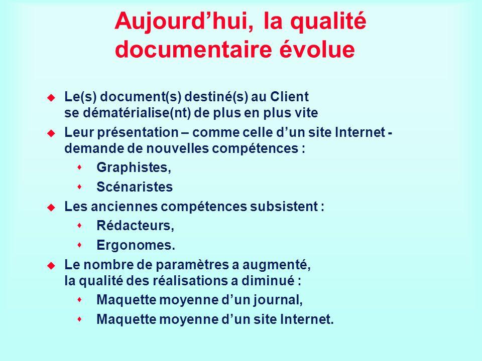 Aujourdhui, la qualité documentaire évolue Le(s) document(s) destiné(s) au Client se dématérialise(nt) de plus en plus vite Leur présentation – comme