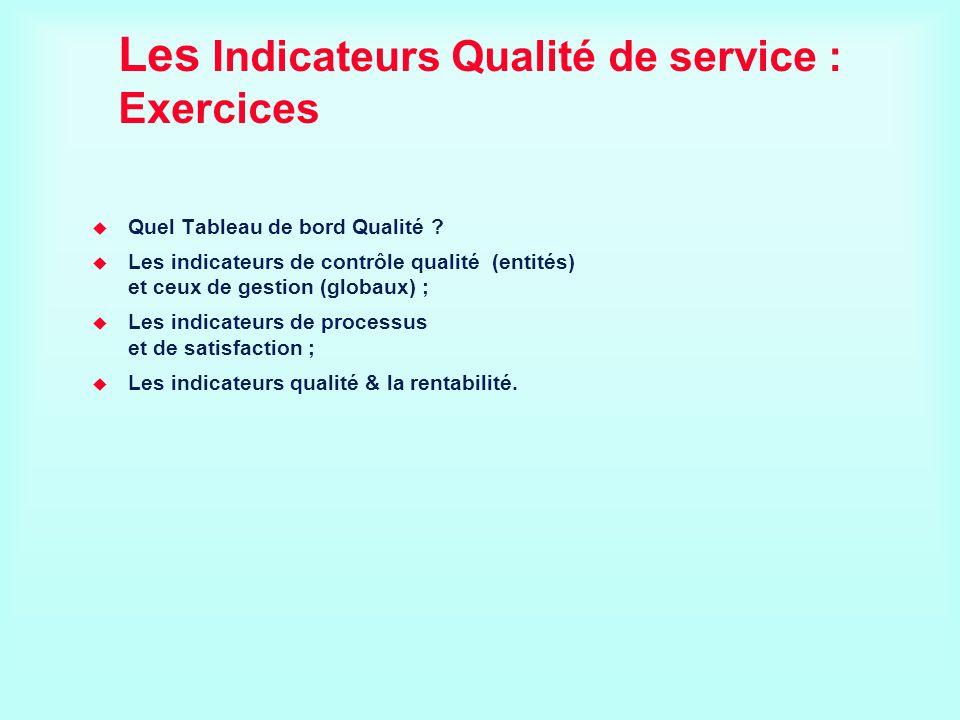 Les Indicateurs Qualité de service : Exercices Quel Tableau de bord Qualité ? Les indicateurs de contrôle qualité (entités) et ceux de gestion (globau
