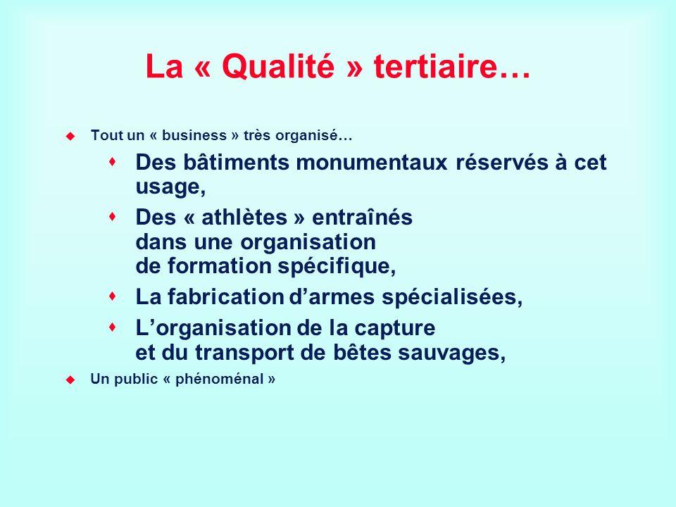 La « Qualité » tertiaire… Tout un « business » très organisé… Des bâtiments monumentaux réservés à cet usage, Des « athlètes » entraînés dans une orga