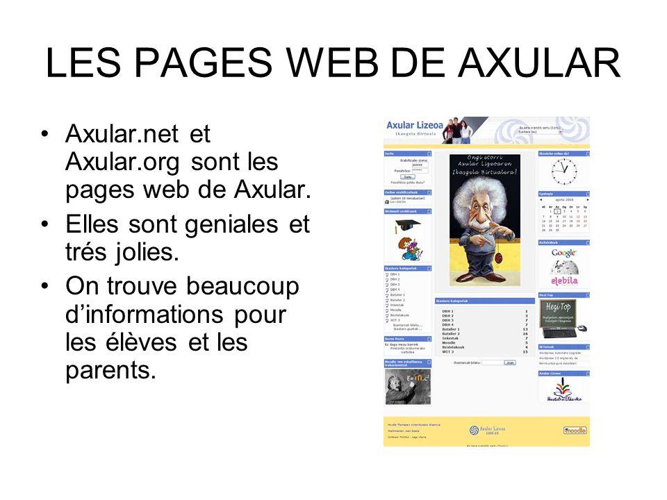 LES PAGES WEB DE AXULAR Axular.net et Axular.org sont les pages web de Axular. Elles sont geniales et trés jolies. On trouve beaucoup dinformations po