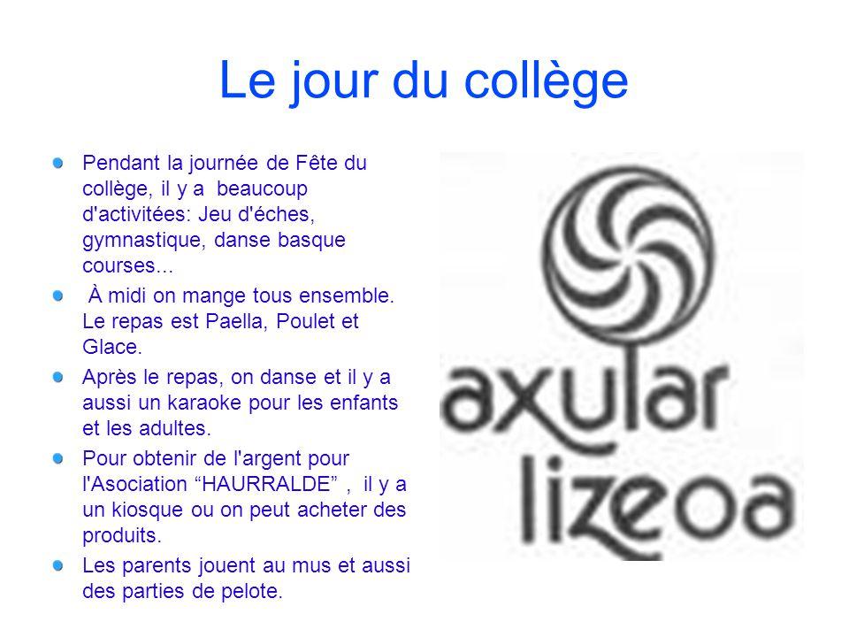 Le jour du collège Pendant la journée de Fête du collège, il y a beaucoup d activitées: Jeu d éches, gymnastique, danse basque courses...