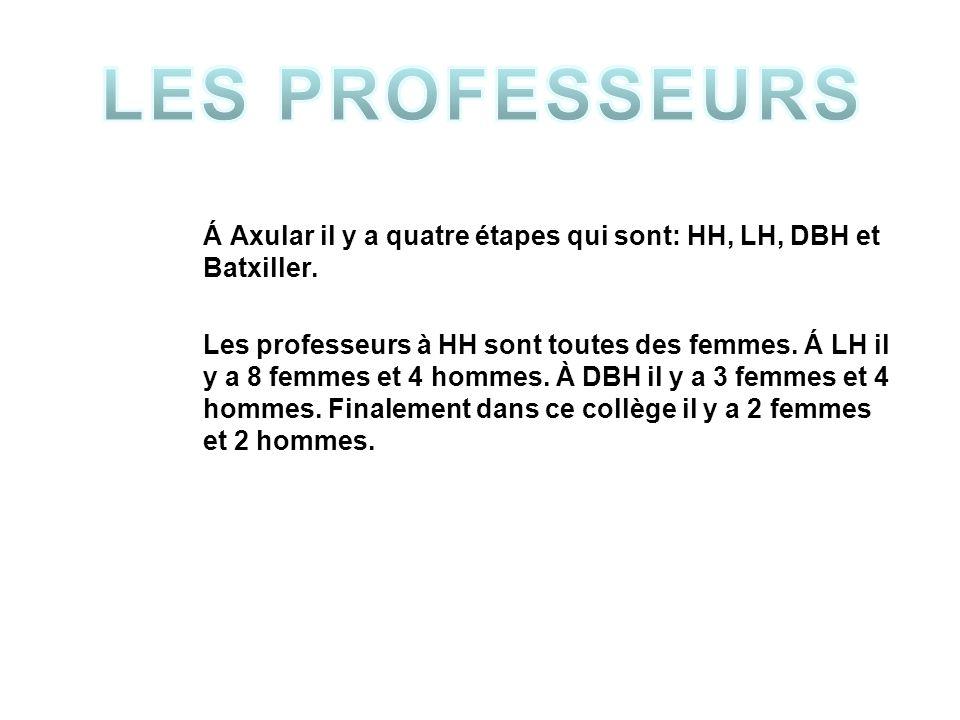Á Axular il y a quatre étapes qui sont: HH, LH, DBH et Batxiller.