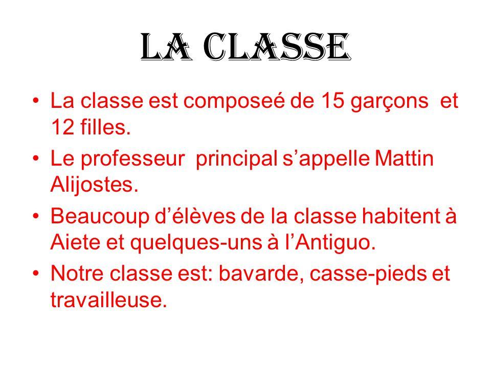 LA CLASSE La classe est composeé de 15 garçons et 12 filles.