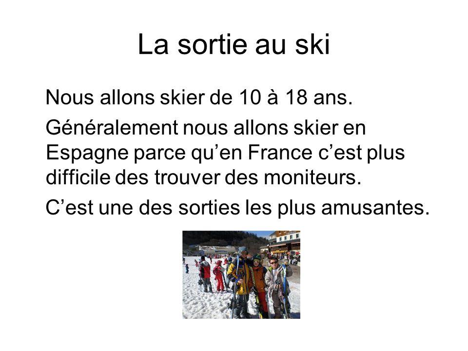 La sortie au ski Nous allons skier de 10 à 18 ans.