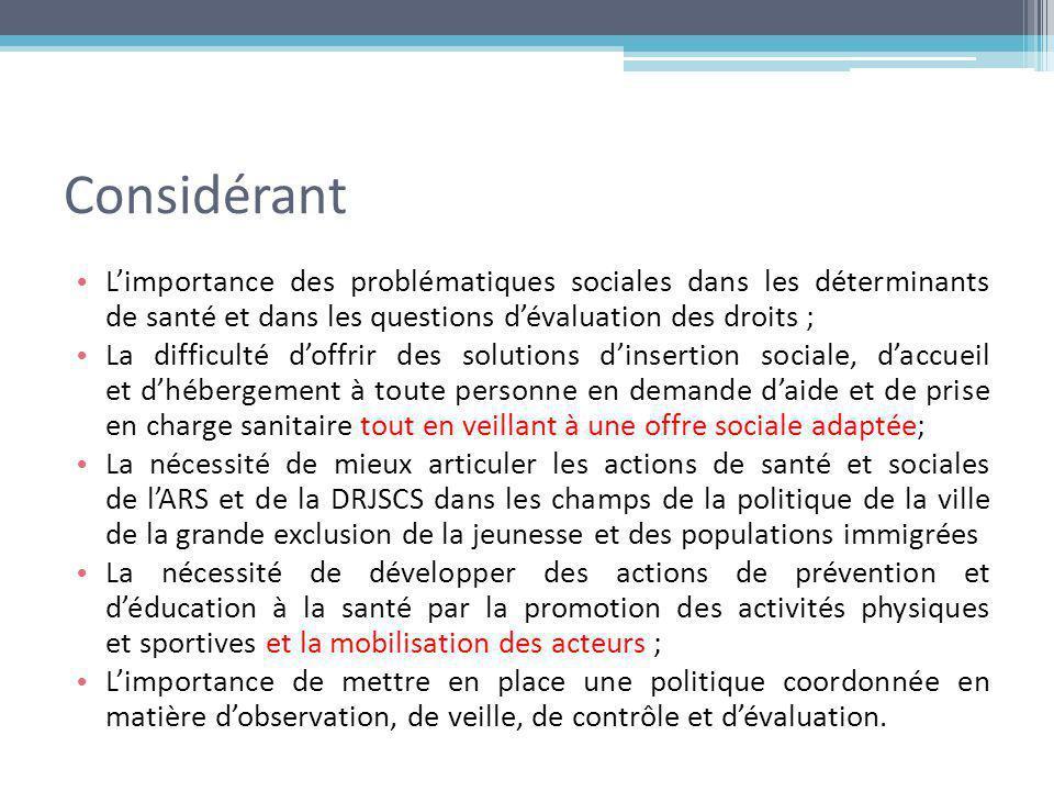 Considérant Limportance des problématiques sociales dans les déterminants de santé et dans les questions dévaluation des droits ; La difficulté doffri