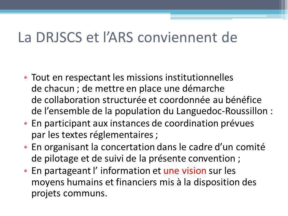 La DRJSCS et lARS conviennent de Tout en respectant les missions institutionnelles de chacun ; de mettre en place une démarche de collaboration struct