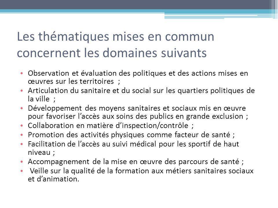 Les thématiques mises en commun concernent les domaines suivants Observation et évaluation des politiques et des actions mises en œuvres sur les terri