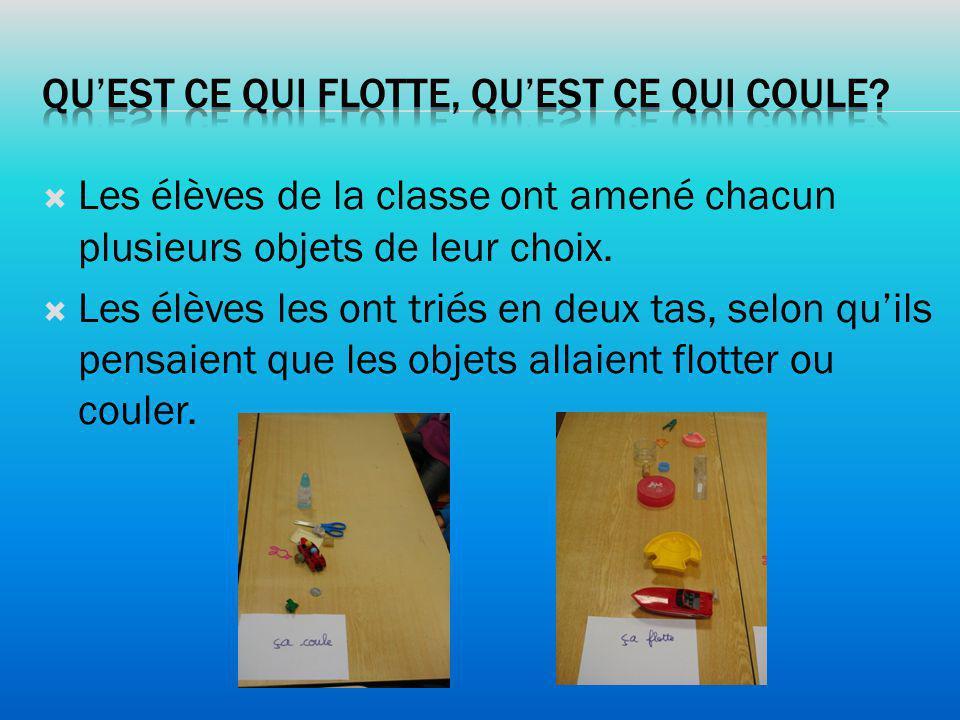Les élèves de la classe ont amené chacun plusieurs objets de leur choix. Les élèves les ont triés en deux tas, selon quils pensaient que les objets al