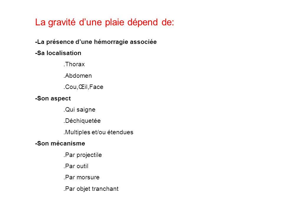 La gravité dune plaie dépend de: -La présence dune hémorragie associée -Sa localisation.Thorax.Abdomen.Cou,Œil,Face -Son aspect.Qui saigne.Déchiquetée