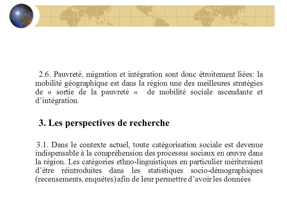 2.6. Pauvreté, migration et intégration sont donc étroitement liées: la mobilité géographique est dans la région une des meilleures stratégies de « so