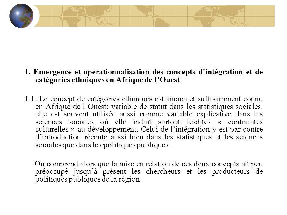 1. Emergence et opérationnalisation des concepts dintégration et de catégories ethniques en Afrique de lOuest 1.1. Le concept de catégories ethniques