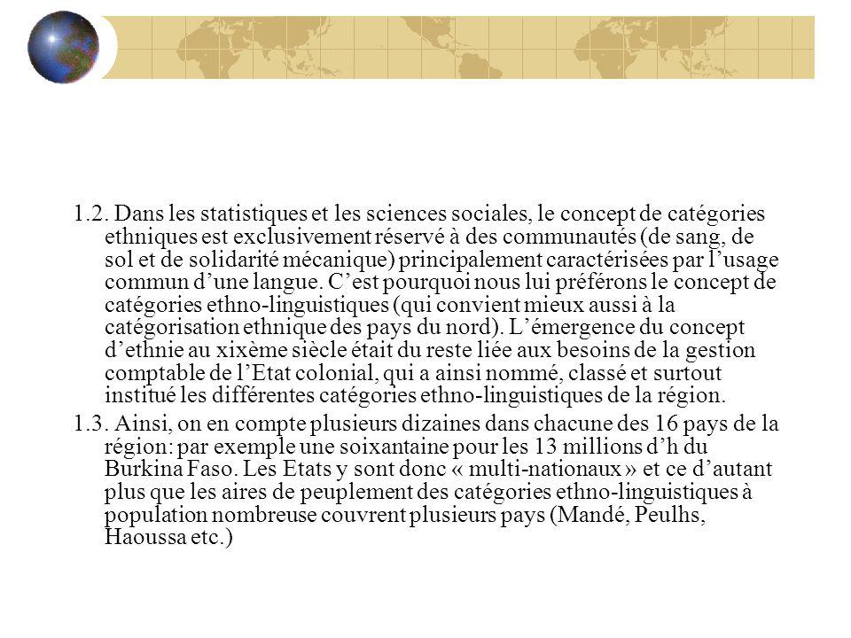 1.2. Dans les statistiques et les sciences sociales, le concept de catégories ethniques est exclusivement réservé à des communautés (de sang, de sol e