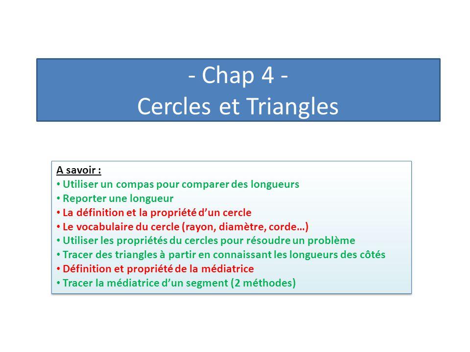 - Chap 4 - Cercles et Triangles A savoir : Utiliser un compas pour comparer des longueurs Reporter une longueur La définition et la propriété dun cerc