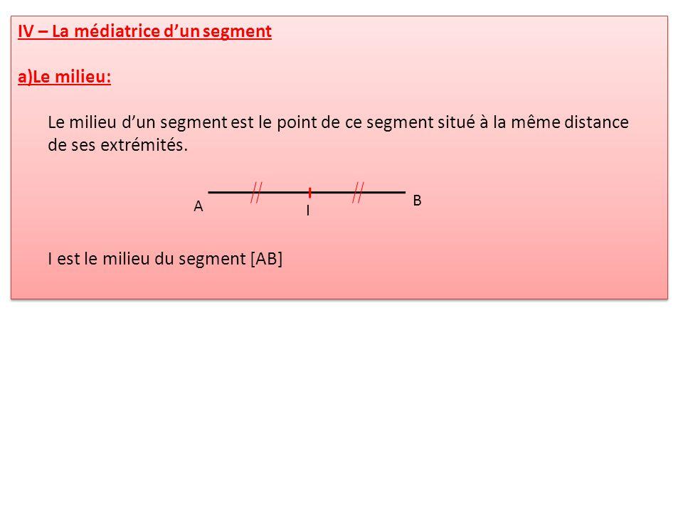 IV – La médiatrice dun segment a)Le milieu: Le milieu dun segment est le point de ce segment situé à la même distance de ses extrémités. I est le mili