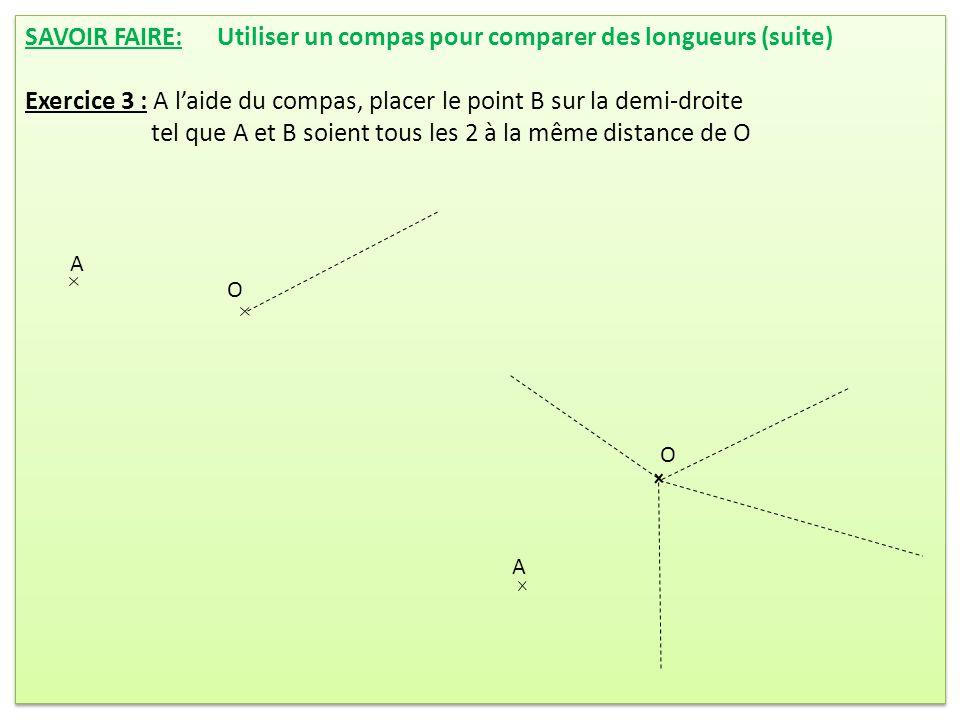 SAVOIR FAIRE: Utiliser un compas pour comparer des longueurs (suite) Exercice 3 : A laide du compas, placer le point B sur la demi-droite tel que A et