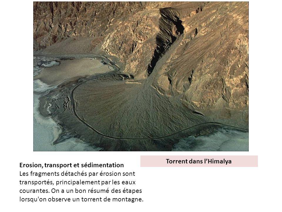 Torrent dans lHimalya Erosion, transport et sédimentation Les fragments détachés par érosion sont transportés, principalement par les eaux courantes.