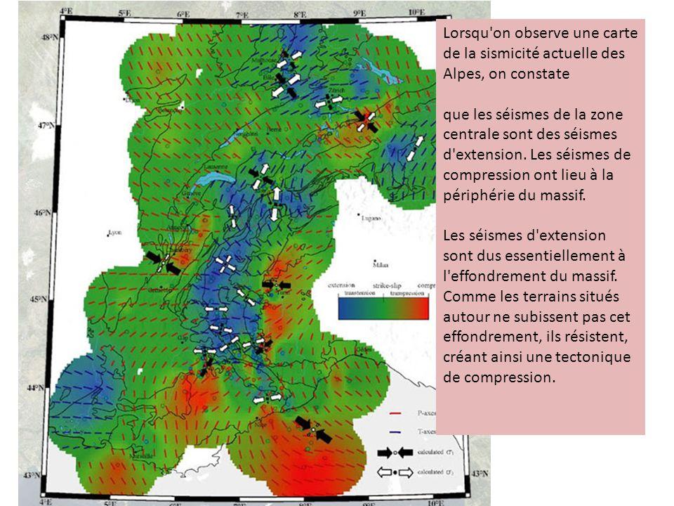 Lorsqu'on observe une carte de la sismicité actuelle des Alpes, on constate que les séismes de la zone centrale sont des séismes d'extension. Les séis