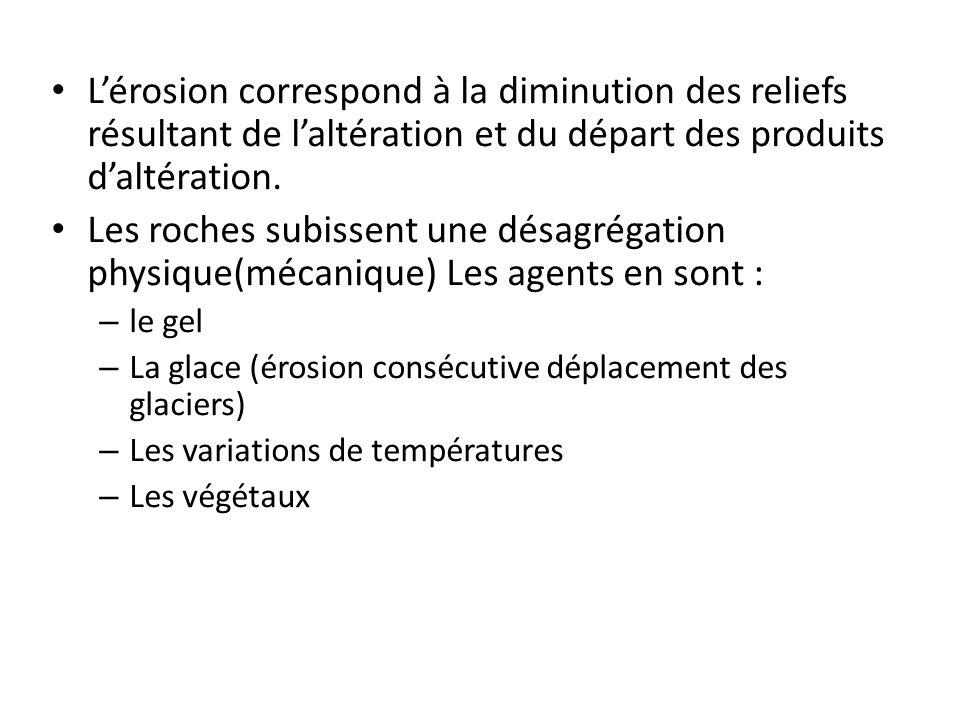 Lérosion correspond à la diminution des reliefs résultant de laltération et du départ des produits daltération. Les roches subissent une désagrégation