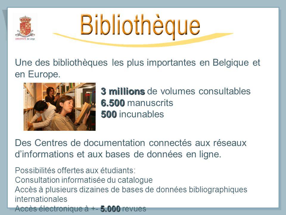 Une des bibliothèques les plus importantes en Belgique et en Europe. 3 millions 3 millions de volumes consultables 6.500 6.500 manuscrits 500 500 incu