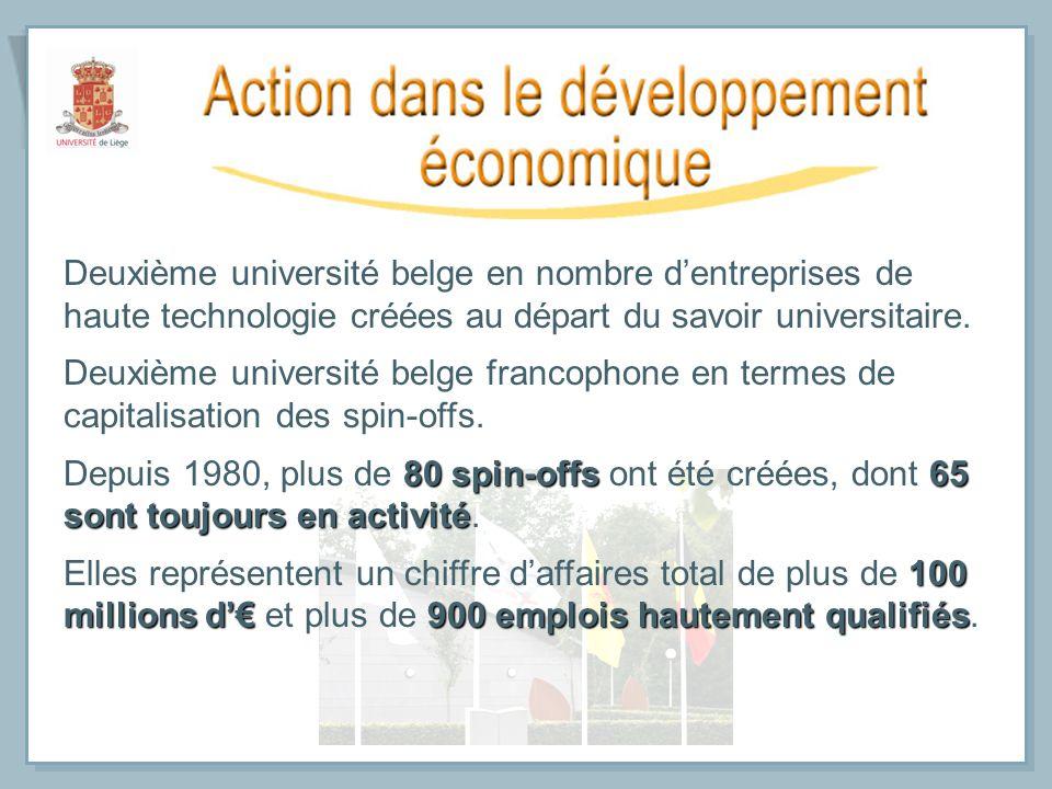 Deuxième université belge en nombre dentreprises de haute technologie créées au départ du savoir universitaire. Deuxième université belge francophone