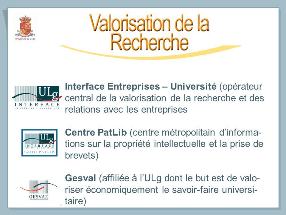 Interface Entreprises – Université (opérateur central de la valorisation de la recherche et des relations avec les entreprises Centre PatLib (centre m