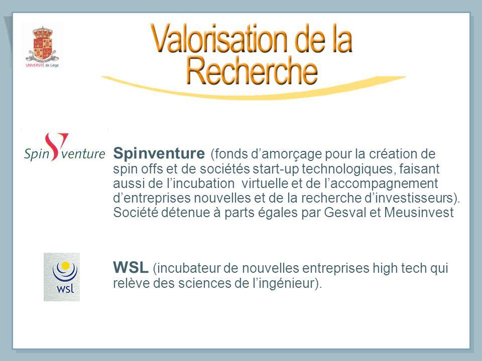 Spinventure (fonds damorçage pour la création de spin offs et de sociétés start-up technologiques, faisant aussi de lincubation virtuelle et de laccom