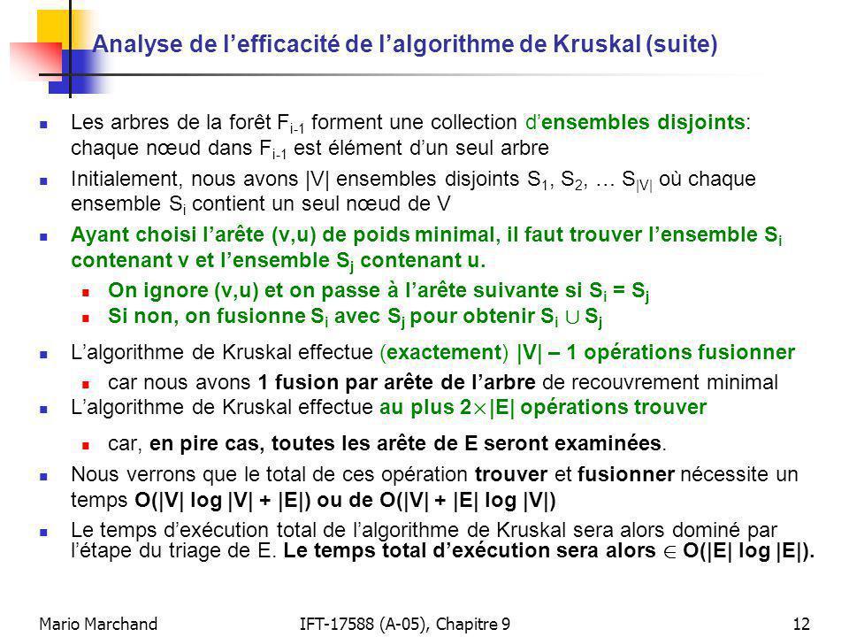 Mario MarchandIFT-17588 (A-05), Chapitre 912 Analyse de lefficacité de lalgorithme de Kruskal (suite) Les arbres de la forêt F i-1 forment une collection densembles disjoints: chaque nœud dans F i-1 est élément dun seul arbre Initialement, nous avons |V| ensembles disjoints S 1, S 2, … S |V| où chaque ensemble S i contient un seul nœud de V Ayant choisi larête (v,u) de poids minimal, il faut trouver lensemble S i contenant v et lensemble S j contenant u.
