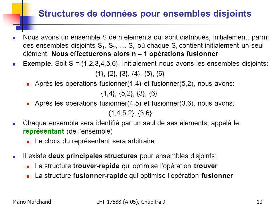 Mario MarchandIFT-17588 (A-05), Chapitre 913 Structures de données pour ensembles disjoints Nous avons un ensemble S de n éléments qui sont distribués, initialement, parmi des ensembles disjoints S 1, S 2, … S n où chaque S i contient initialement un seul élément.
