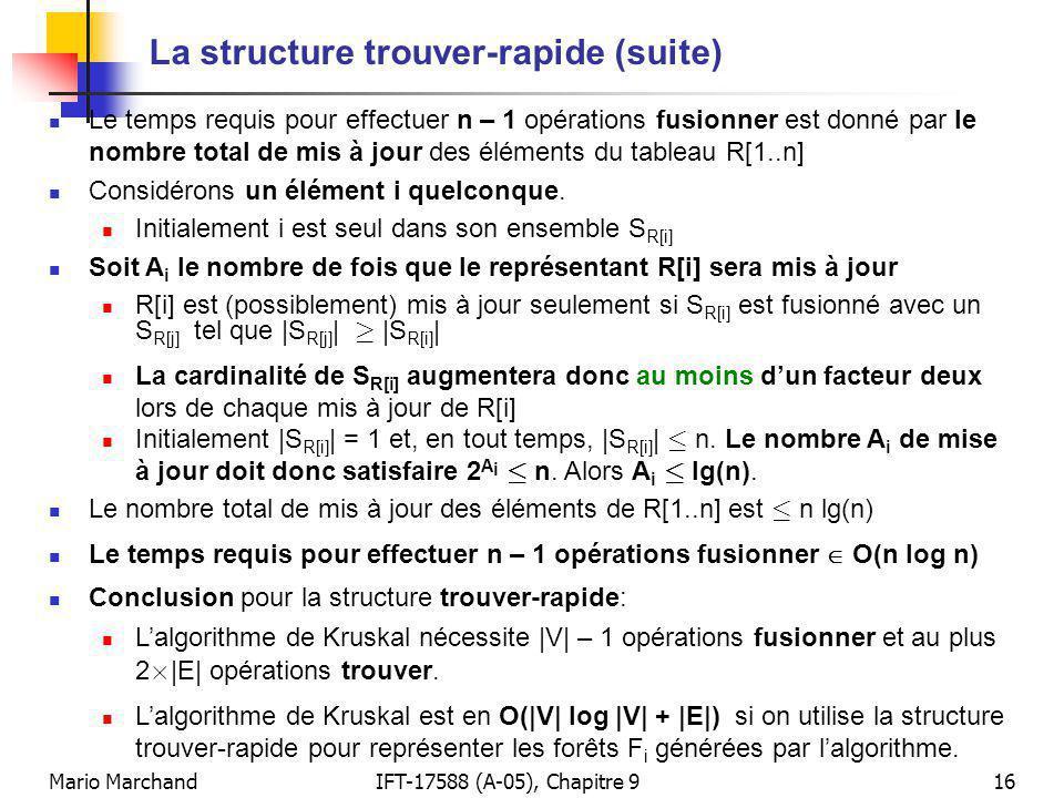 Mario MarchandIFT-17588 (A-05), Chapitre 916 La structure trouver-rapide (suite) Le temps requis pour effectuer n – 1 opérations fusionner est donné par le nombre total de mis à jour des éléments du tableau R[1..n] Considérons un élément i quelconque.