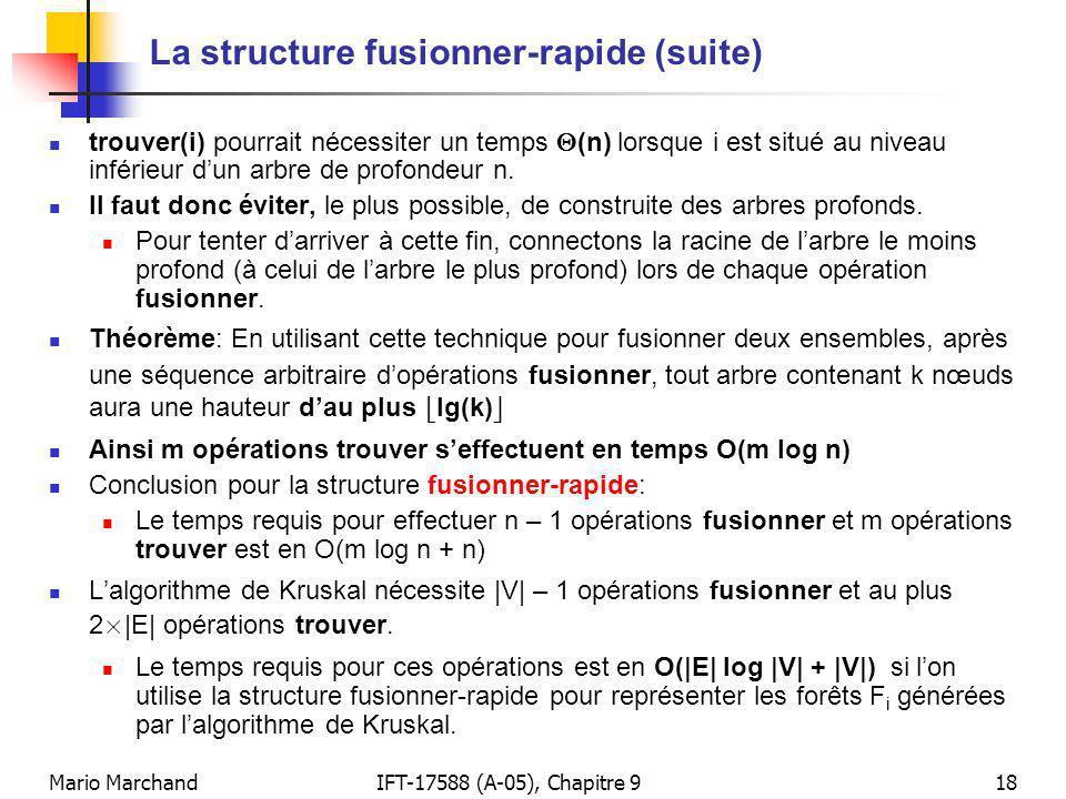 Mario MarchandIFT-17588 (A-05), Chapitre 918 La structure fusionner-rapide (suite) trouver(i) pourrait nécessiter un temps (n) lorsque i est situé au niveau inférieur dun arbre de profondeur n.
