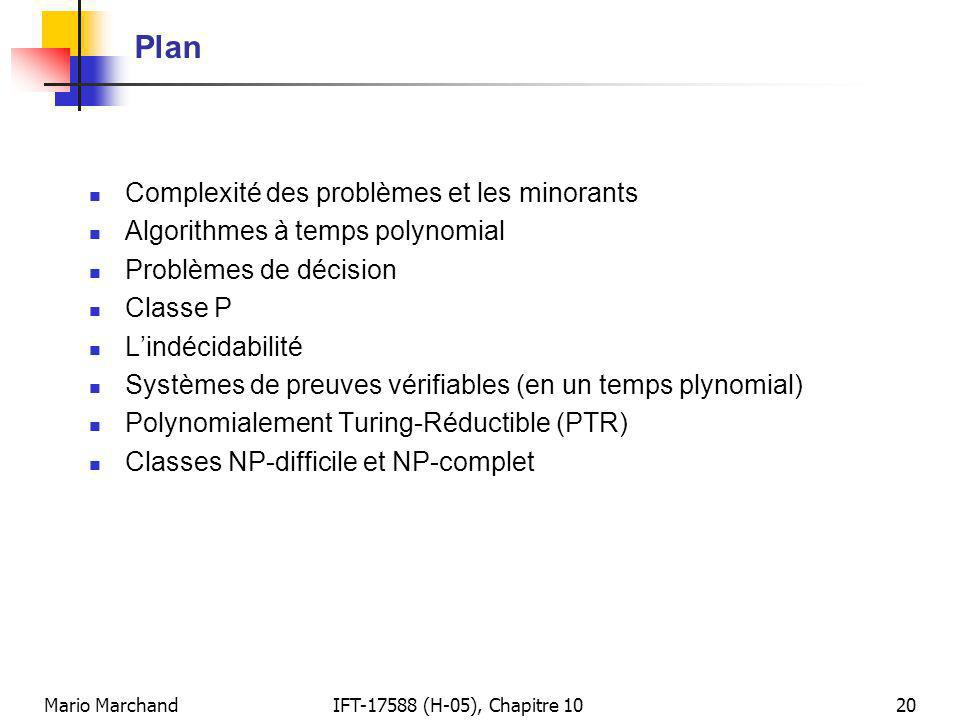 Mario MarchandIFT-17588 (H-05), Chapitre 1020 Plan Complexité des problèmes et les minorants Algorithmes à temps polynomial Problèmes de décision Classe P Lindécidabilité Systèmes de preuves vérifiables (en un temps plynomial) Polynomialement Turing-Réductible (PTR) Classes NP-difficile et NP-complet