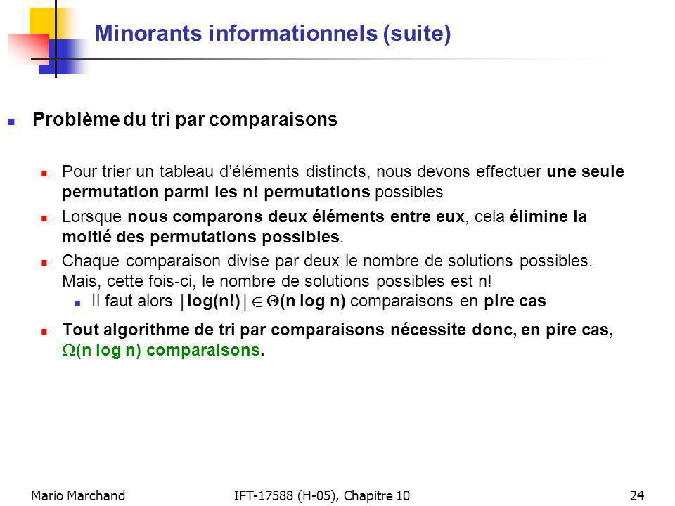Mario MarchandIFT-17588 (H-05), Chapitre 1024 Minorants informationnels (suite) Problème du tri par comparaisons Pour trier un tableau déléments distincts, nous devons effectuer une seule permutation parmi les n.