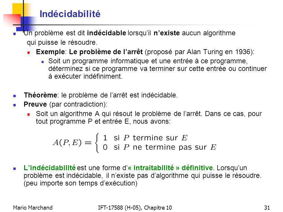 Mario MarchandIFT-17588 (H-05), Chapitre 1031 Indécidabilité Un problème est dit indécidable lorsquil nexiste aucun algorithme qui puisse le résoudre.