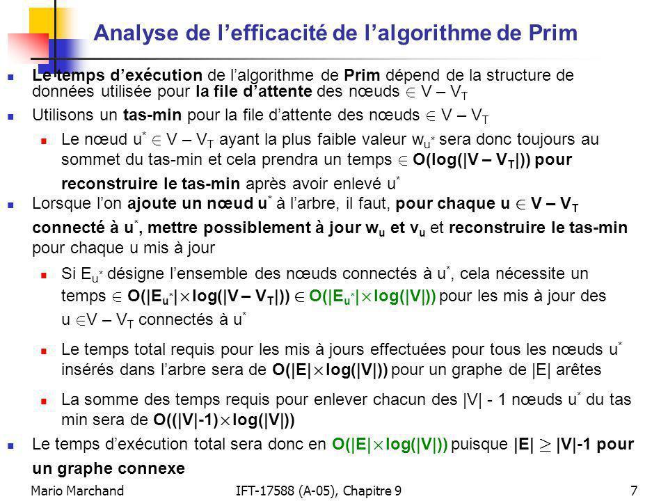 Mario MarchandIFT-17588 (A-05), Chapitre 97 Analyse de lefficacité de lalgorithme de Prim Le temps dexécution de lalgorithme de Prim dépend de la structure de données utilisée pour la file dattente des nœuds 2 V – V T Utilisons un tas-min pour la file dattente des nœuds 2 V – V T Le nœud u * 2 V – V T ayant la plus faible valeur w u * sera donc toujours au sommet du tas-min et cela prendra un temps 2 O(log(|V – V T |)) pour reconstruire le tas-min après avoir enlevé u * Lorsque lon ajoute un nœud u * à larbre, il faut, pour chaque u 2 V – V T connecté à u *, mettre possiblement à jour w u et v u et reconstruire le tas-min pour chaque u mis à jour Si E u * désigne lensemble des nœuds connectés à u *, cela nécessite un temps 2 O(|E u * | £ log(|V – V T |)) 2 O(|E u * | £ log(|V|)) pour les mis à jour des u 2 V – V T connectés à u * Le temps total requis pour les mis à jours effectuées pour tous les nœuds u * insérés dans larbre sera de O(|E| £ log(|V|)) pour un graphe de |E| arêtes La somme des temps requis pour enlever chacun des |V| - 1 nœuds u * du tas min sera de O((|V|-1) £ log(|V|)) Le temps dexécution total sera donc en O(|E| £ log(|V|)) puisque |E| ¸ |V|-1 pour un graphe connexe