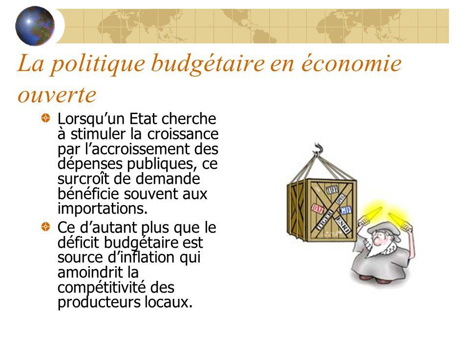 La politique budgétaire en économie ouverte Lorsquun Etat cherche à stimuler la croissance par laccroissement des dépenses publiques, ce surcroît de demande bénéficie souvent aux importations.