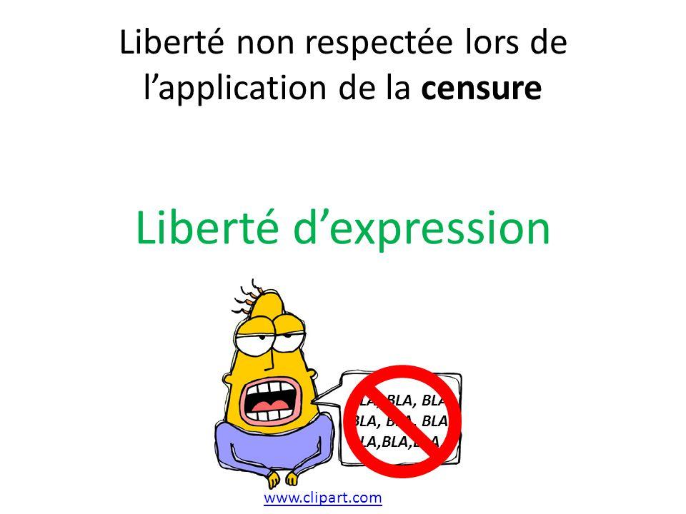 Liberté non respectée lors de lapplication de la censure Liberté dexpression BLA, BLA, BLA, BLA,BLA,BLA… www.clipart.com
