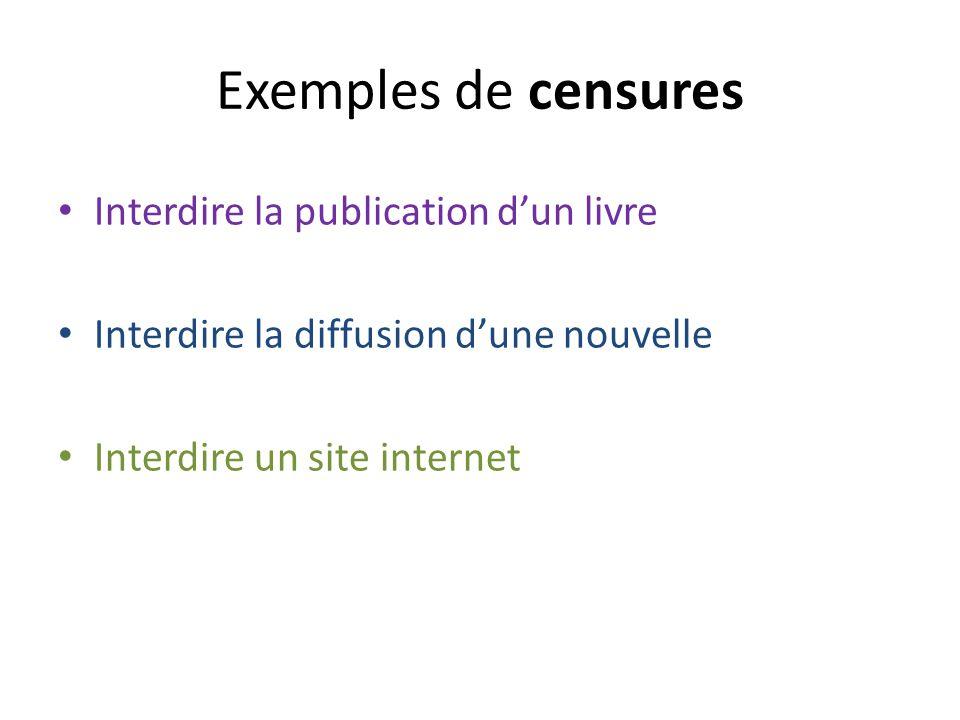 Exemples de censures Interdire la publication dun livre Interdire la diffusion dune nouvelle Interdire un site internet