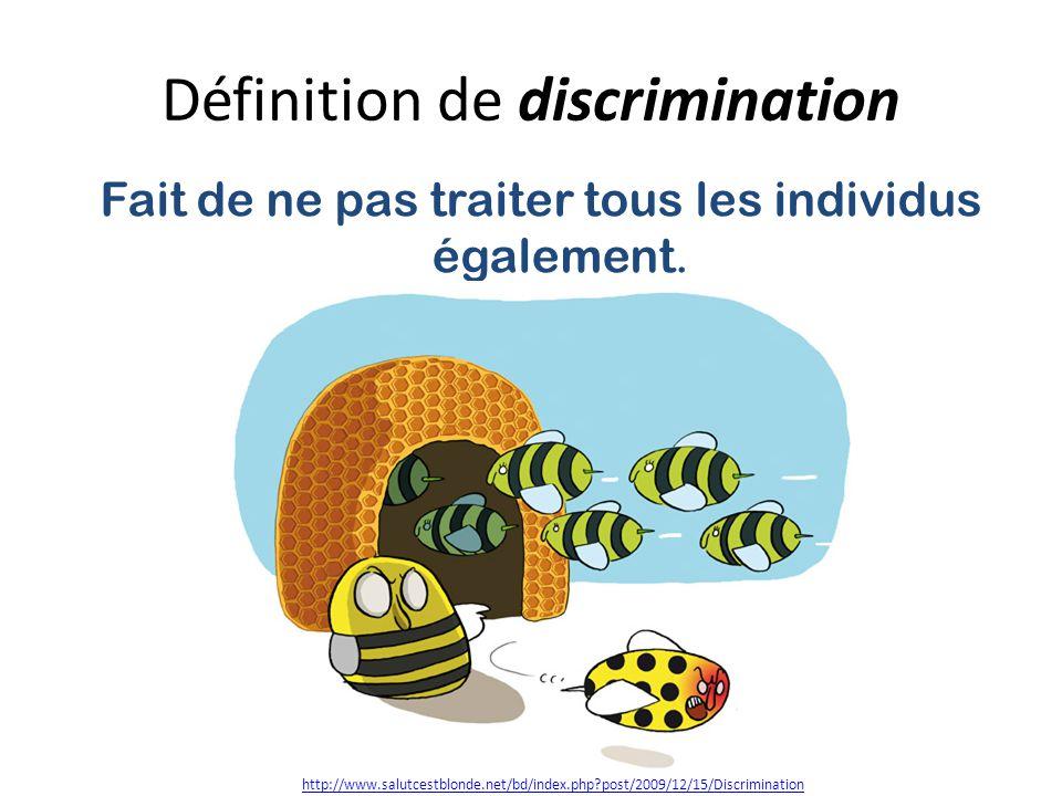 Définition de discrimination Fait de ne pas traiter tous les individus également.