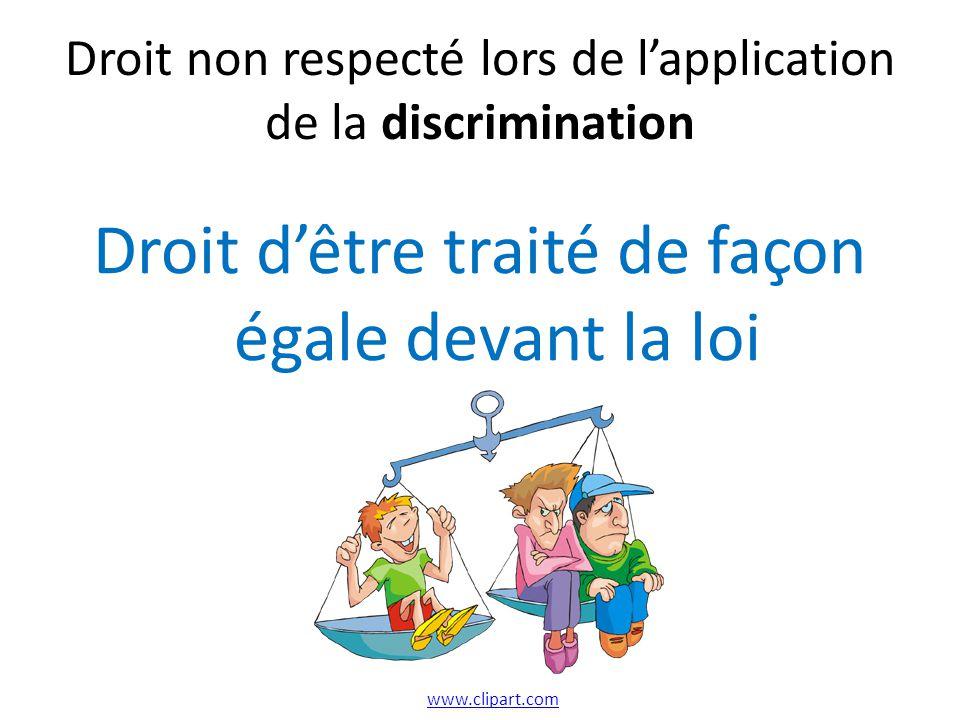 Droit non respecté lors de lapplication de la discrimination Droit dêtre traité de façon égale devant la loi www.clipart.com