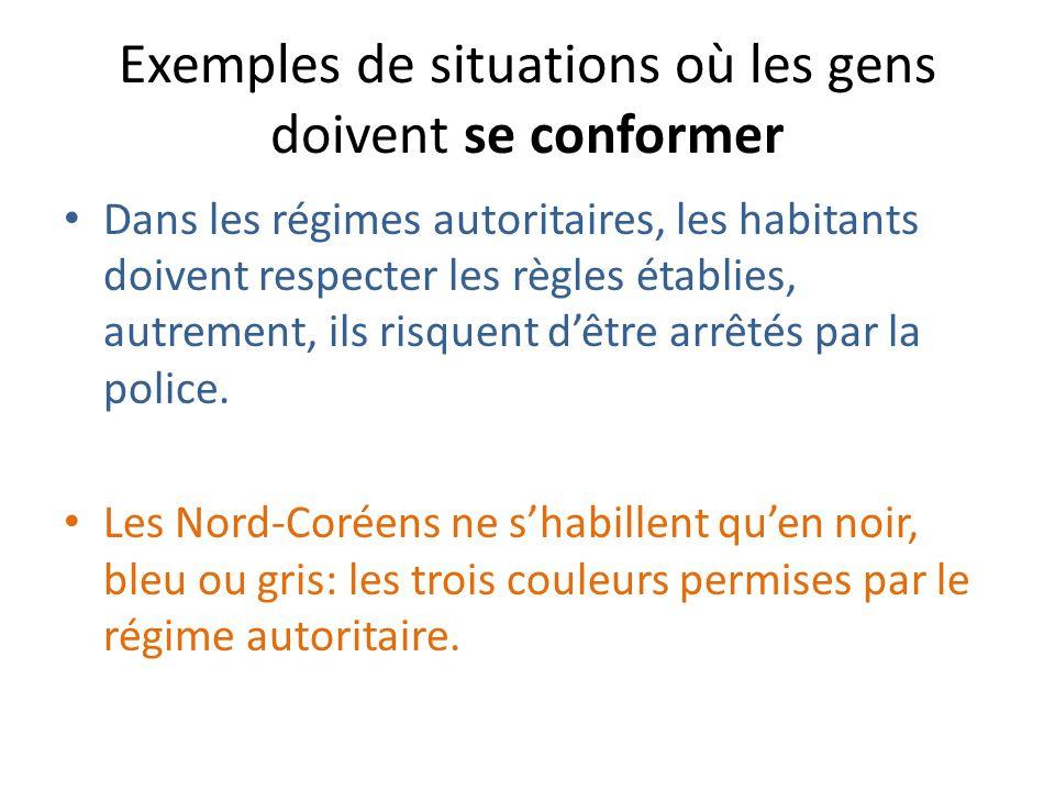 Exemples de situations où les gens doivent se conformer Dans les régimes autoritaires, les habitants doivent respecter les règles établies, autrement, ils risquent dêtre arrêtés par la police.