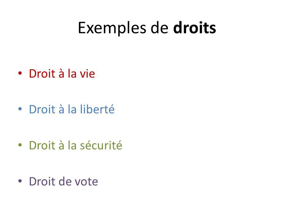 Exemples de droits Droit à la vie Droit à la liberté Droit à la sécurité Droit de vote